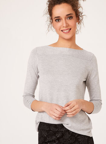 3/4 Sleeve Lurex Knit Sweater, Silver, hi-res