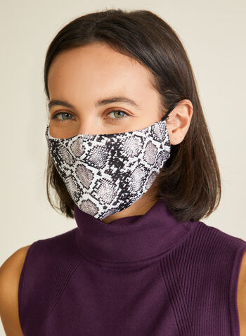 Snake Print Mask, Grey,  mask, snake print, cotton, adjustable, cotton, reusable, washable, spring summer 2020