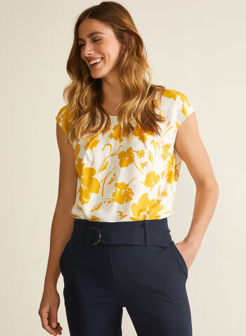 Floral Print Top , White,  floral print, crepe, top, cap sleeves, scoop neck, spring 2020