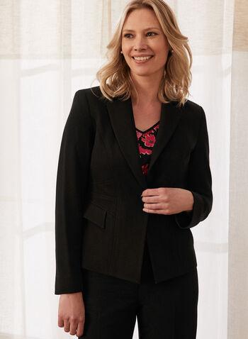 Veste tailleur à un bouton , Noir,  veste, blazer, costume, col cranté, manches longues, coupe ajustée, bouton, poches rabat, doublure, épaulettes, extensible, fait au Canada, printemps été 2021