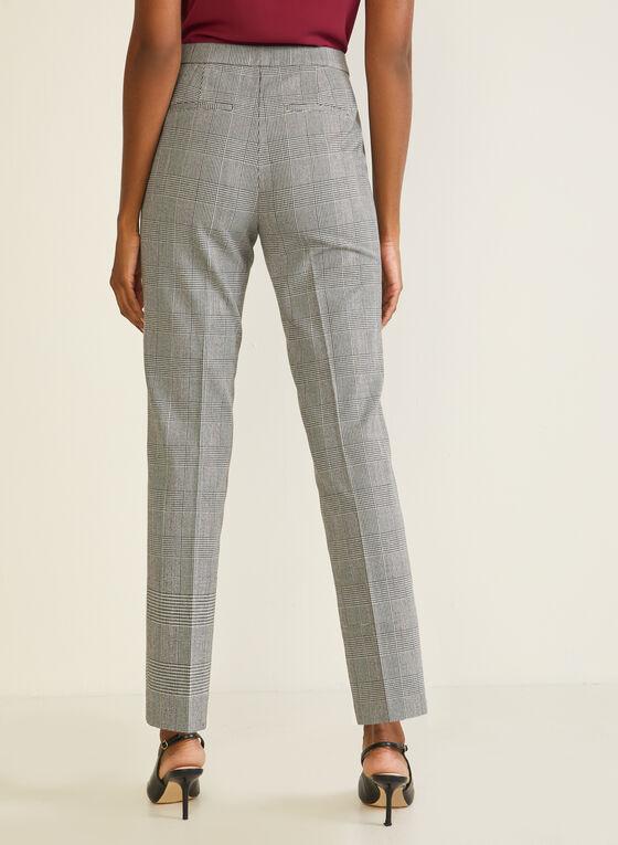 Pantalon droit motif tartan, Noir
