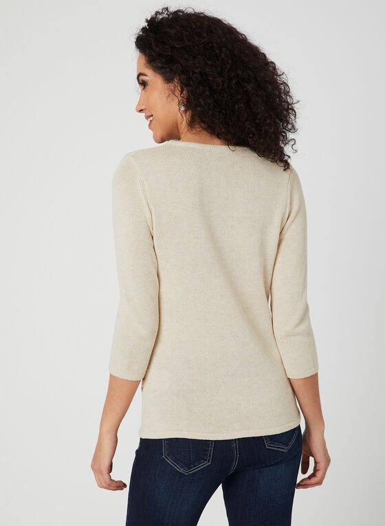 Alison Sheri - Pull en tricot à manches ¾ , Blanc