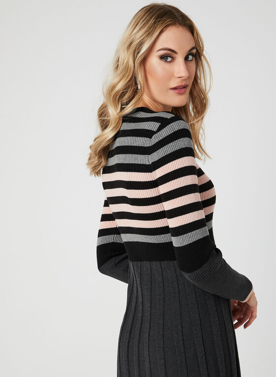 Robe à rayures en tricot côtelé, Noir, hi-res