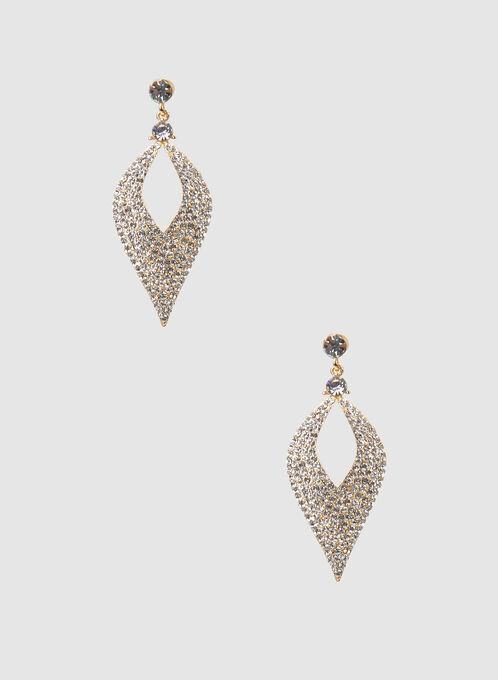 Boucles d'oreilles à pendants à cristaux, Or, hi-res
