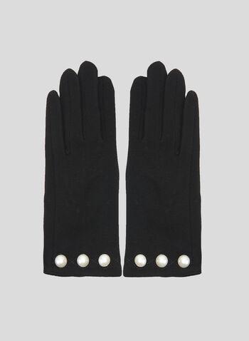 Gants en tricot à perles, Noir, hi-res