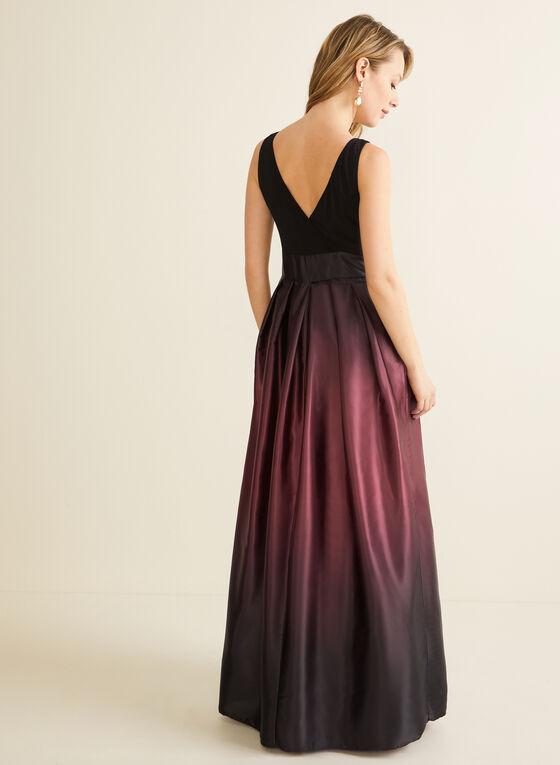 Ombré Satin Evening Dress, Black