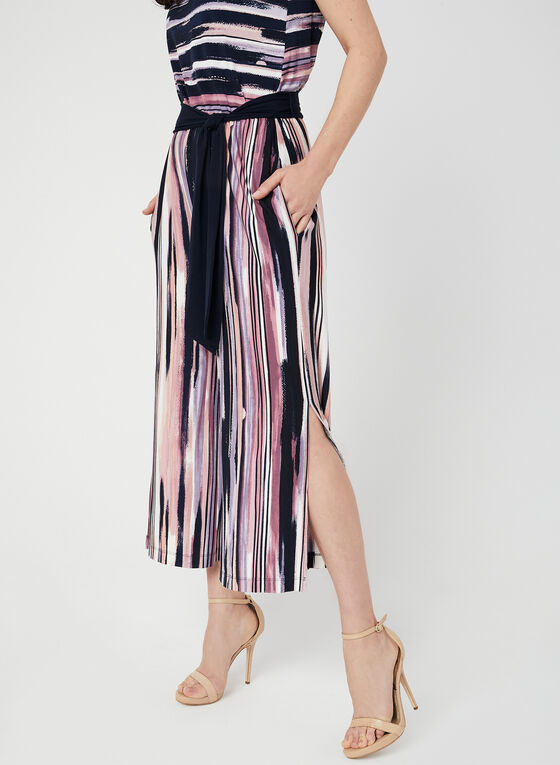 Stripe Print Belted Jumpsuit, Red