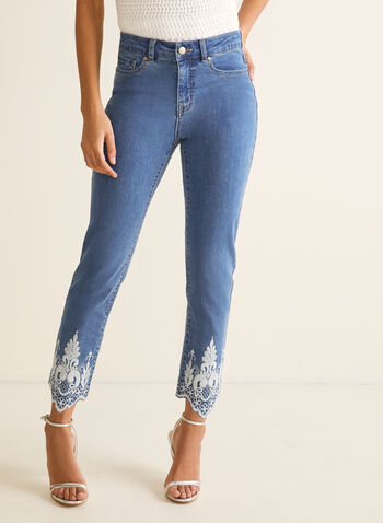 Embroidered Hem Slim Leg Jeans, Blue,  jeans, slim leg, embroidered, scalloped, pockets, stretchy, high rise, ankle, spring summer 2020