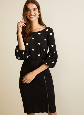 Polka Dot Print Bell Sleeve Top, Black,  fall winter 2020, top, bell sleeve, 3/4, polka dot, round neck, made in canada