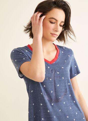 Claudel Lingerie - Chemise de nuit motif voilier, Bleu,  pyjama, chemise de nuit, voilier, ancre, col v, manches courtes, printemps été 2020
