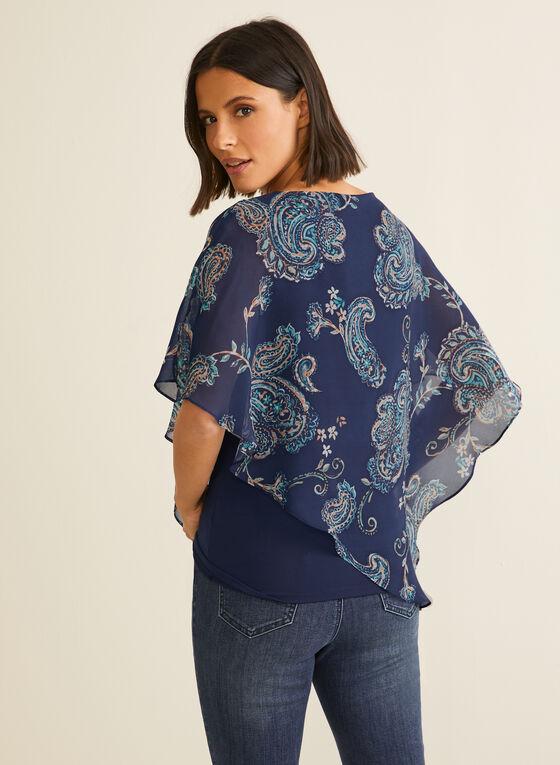 Blouse poncho en mousseline fleurie, Bleu