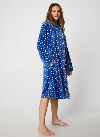 Karmilla Lingerie - Button Down Robe, Blue,  Karmilla Lingerie, sleepwear, pyjama, robe, button down, long sleeves, polka dot, fall 2019, winter 2019