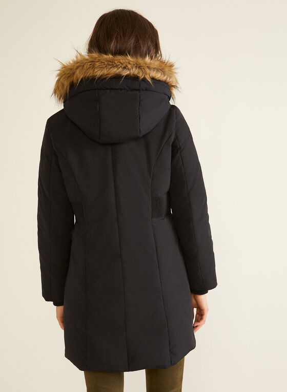 Manteau en duvet mélangé à capuchon, Noir