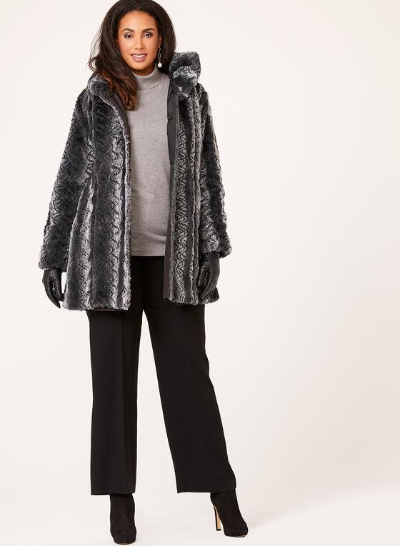 Manteau réversible en fausse fourrure, Noir, hi-res