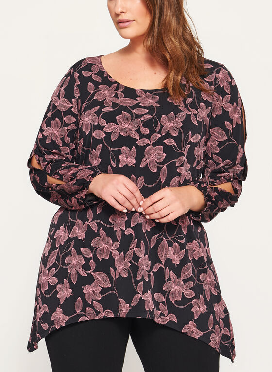 Floral Print Slit Sleeve Tunic, Black, hi-res