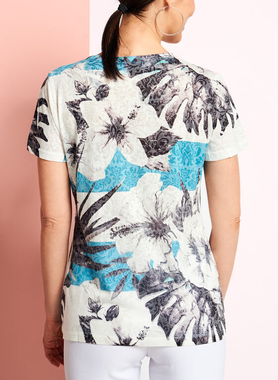 V-Neck Floral Print Top, Blue, hi-res