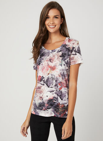 Floral Print Burnout T-Shirt, Red, hi-res