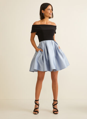 Flare Off-The-Shoulder Dress, Black,  spring summer 2020, satin skirt, jersey bodice, off-the-shoulder neckline