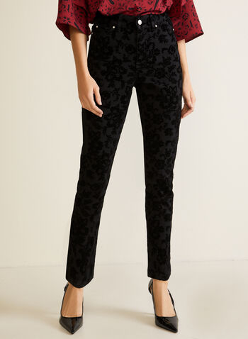 Jeans à jambe droite et motif floral , Noir,  jeans, jambe droite, motif floral, denim, automne hiver 2020, 5 poches, ganses