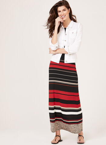 Stripe Print Pull-On Maxi Skirt, Black, hi-res