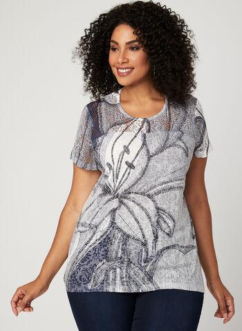 T-shirt à col rond et détails crochet, Blanc, hi-res