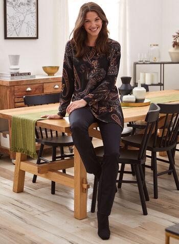 Mini Check Print Pull-On Pants, Grey,  fall winter 2021, made in Canada, pants, pull-on, slim leg, elastic waist, check print, mini check, mini print, checkered