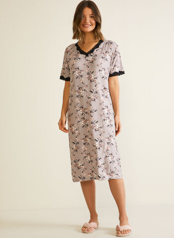 Floral Print Lace Detail Nightgown, Brown,  sleepwear, nightshirt, nightgown, lace, floral, fall winter 2020