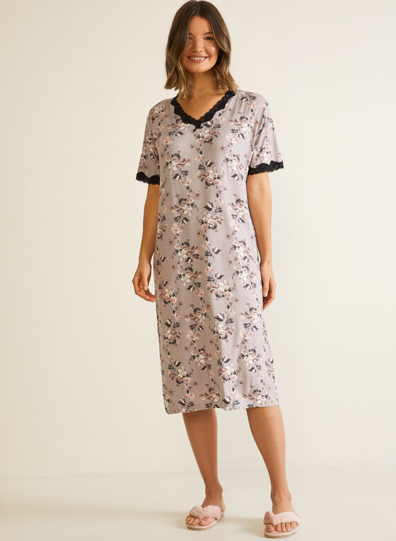 Floral Print Lace Detail Nightgown, Brown
