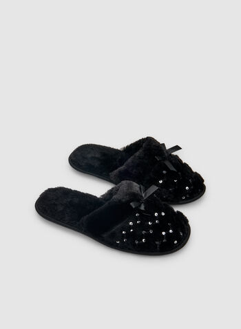 Sequin Detailed Slippers, Black,  slippers, mules, sequins, holiday, fall 2019, winter 2019