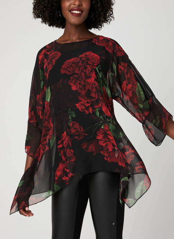 Floral Print Chiffon Blouse, Black, hi-res