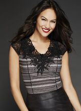 Abstract Print Embellished Lace Scuba Top, Black, hi-res