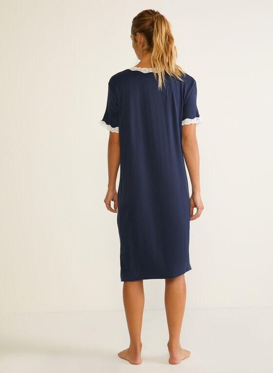 Robe de nuit à détails de dentelle, Bleu