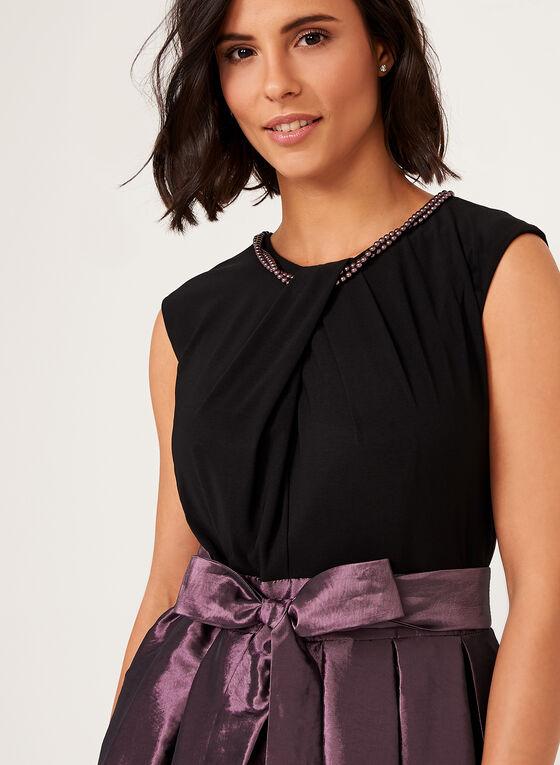 Robe asymétrique en taffeta à col perlé et ruban, Violet, hi-res