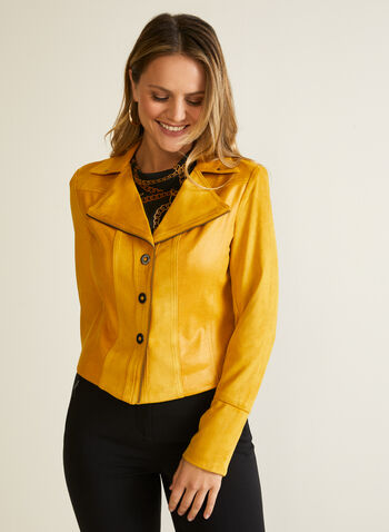 Faux Suede Jacket, Yellow,  jacket, faux suede, long sleeves, notch collar, zipper, fall winter 2020