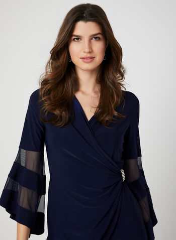 Mesh Insert Jersey Dress, Blue, hi-res,  cocktail dress, jersey, bell sleeves, mesh inserts, spring 2019