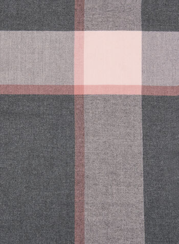Plaid Pattern Scarf, Grey, hi-res