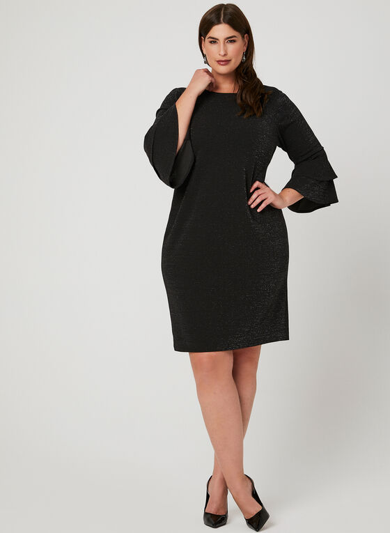 Bell Sleeve Glitter Dress, Black, hi-res