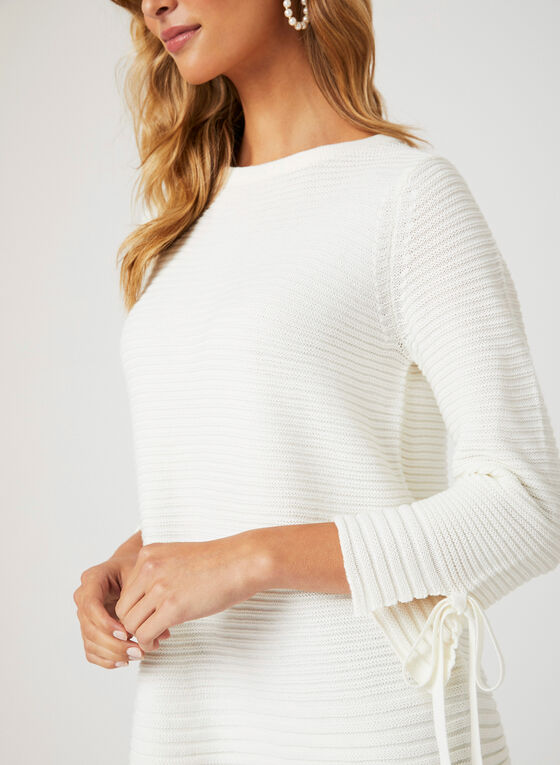 Ribbed Knit Tie Detail Sweater, Off White, hi-res