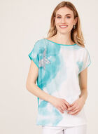 Abstract Print T-Shirt, Blue, hi-res