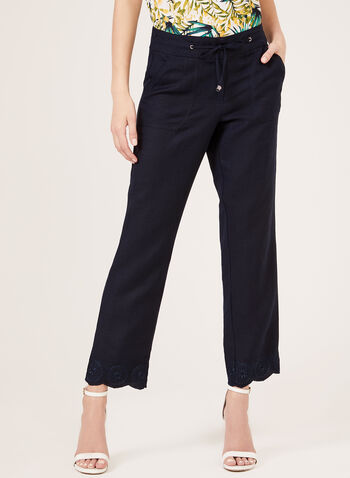 Modern Fit Linen Blend Pants, Blue, hi-res