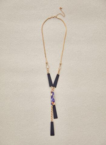 Collier long avec formes allongées en résine, Bleu,  accessoire, bijou, collier, collier long, Y, chaîne serpent, doré, formes allongées, résine, 2 couleurs, mousqueton, printemps été 2021