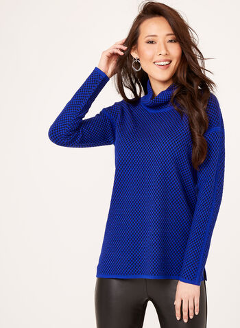 Dot Print Funnel Neck Sweater, Blue, hi-res