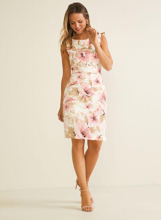 Floral Print Tiered Sheath Dress, Pink