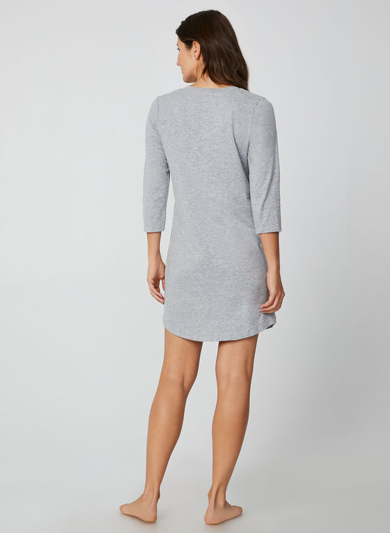 Pillow Talk - Embroidered Nightshirt, Grey