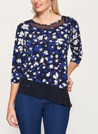 3/4 Sleeve Jersey Tunic Top , Blue, hi-res