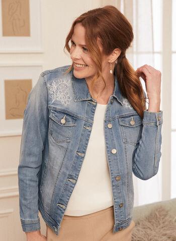 Veste en denim à broderies, Bleu,  veste, jacket, jeans, denim, broderies, floral, florales, blossom, printemps été 2021