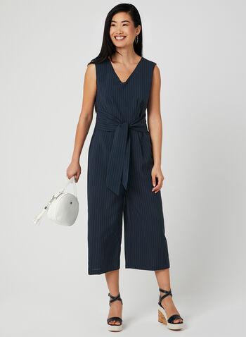 Pinstripe Print Jumpsuit , Blue, hi-res,  v-neck, sleeveless, belted, spring 2019