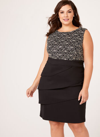Sequin Lace Tiered Contrast Dress, Black, hi-res