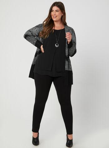 Cardigan ouvert à motif zigzag, Noir,  cardigan, ouvert, manches longues, zigzag, tricot doux, automne hiver 2019