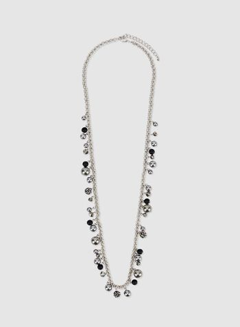 Metallic Pearl Necklace, Grey, hi-res